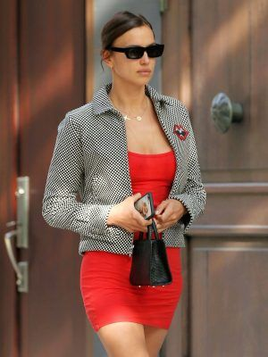 Irina Shayk Leggy in Short Red Dress in New York