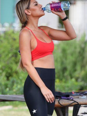 Kirralee Morris Working Out in a Park in North Bondi