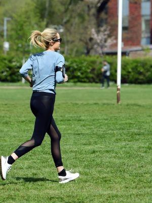 Laura Whitmore in Tights Jogging in London