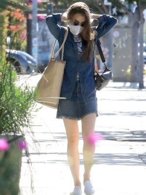 Lily Collins Leggy, Grocery Shopping in LA