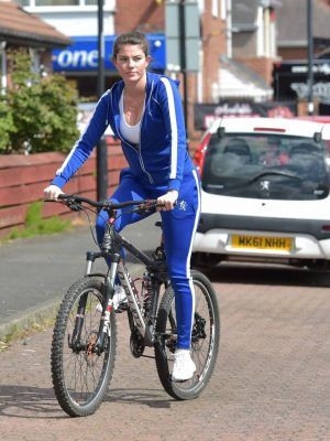 Rebecca Gormley Ass on Bike, Riding before Walking her Dog in Newcastle