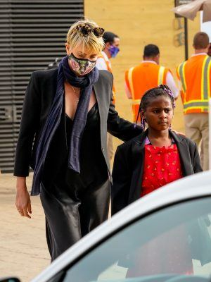 Charlize Theron with Kids in Malibu, California