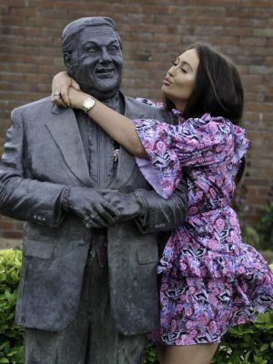 Charlotte Dawson Visiting the Statue of her Father in Lancashire, England