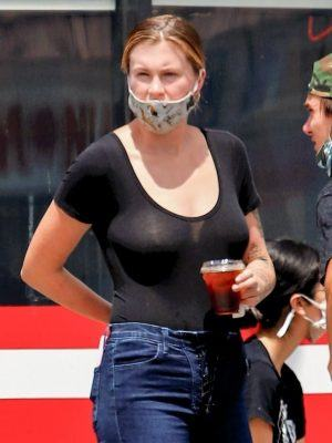 Ireland Baldwin Braless See-through at Monty's Good Burger in Los Angeles