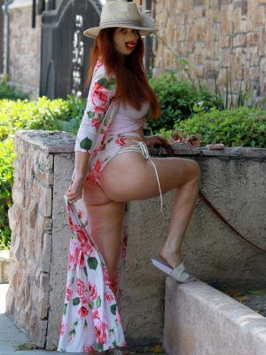 Phoebe Price Ass in a Floral Dress