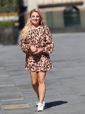 Sian Welby wears print playsuit exits Capital radio