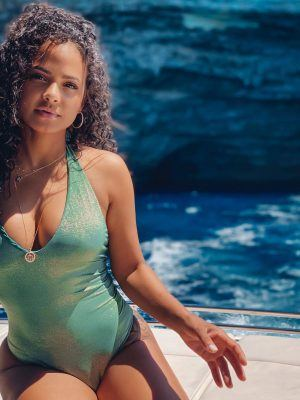 Christina Milian Cleavage in Swimsuit Photoshoot
