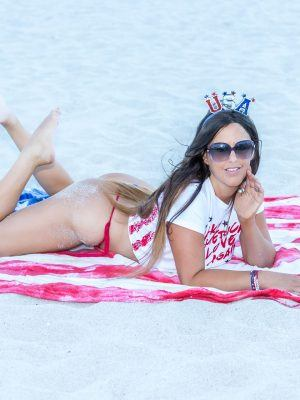 Claudia Romani in Bikini at Beach for the Fourth of July