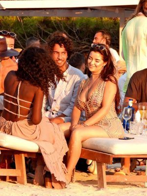 Demi Rose at Sunset with Friends at Experimental Beach in Formentera, Spain