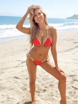 Kara Del Toro Ass in Orange Bikini on the Beach