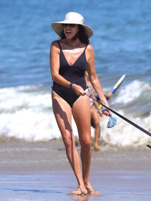 Lisa Loiacono in Black Swimsuit Enjoys a Day at the Beach in Santa Barbara