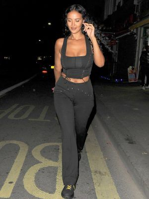 Maya Jama Cleavage Outside a Fish Restaurant in Mayfair