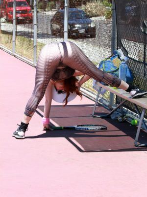 Phoebe Price on Tennis Court in a See-through Outfit Hitting Balls on Sunday, Los Angeles