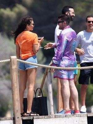 "Shanina Shaik and Eli Mizrahi at ""Loulou"" in Saint-Tropez, France"
