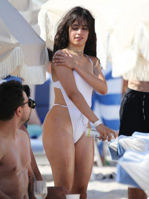Camila Cabello Wet in a White Swimsuit on the Beach in Miami