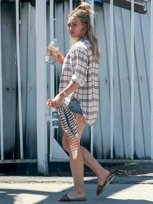 Hilary Duff Leggy in Shorts, Out in Encino