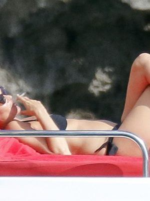 Kate Moss in Bikini Enjoying Holiday on Board of a Luxury Yacht in Ibiza