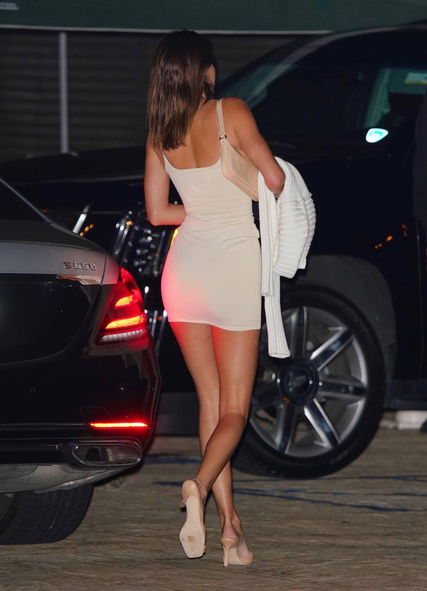 Kendall Jenner Leggy in a White Dress at a Dinner in Malibu