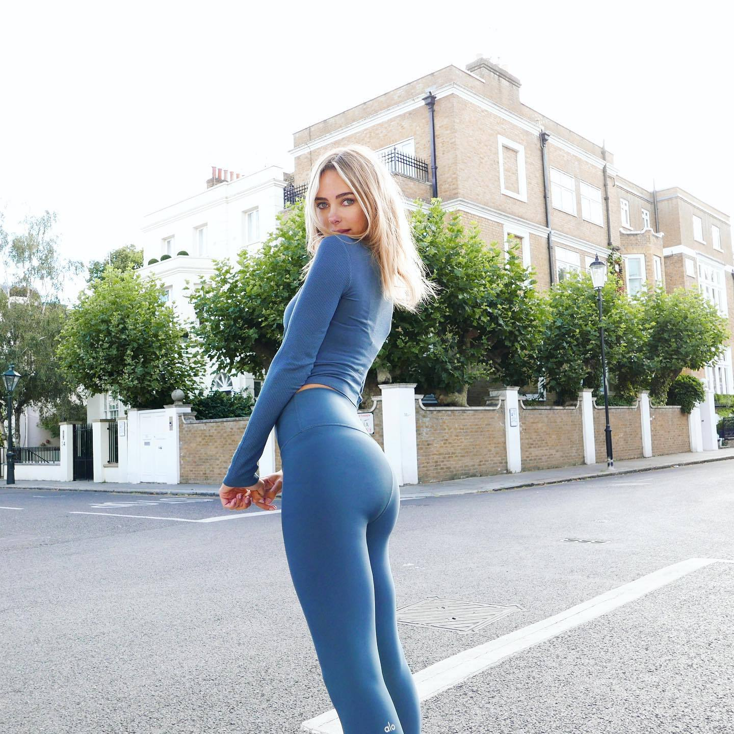 Kimberley Garner Ass in Blue Leggings