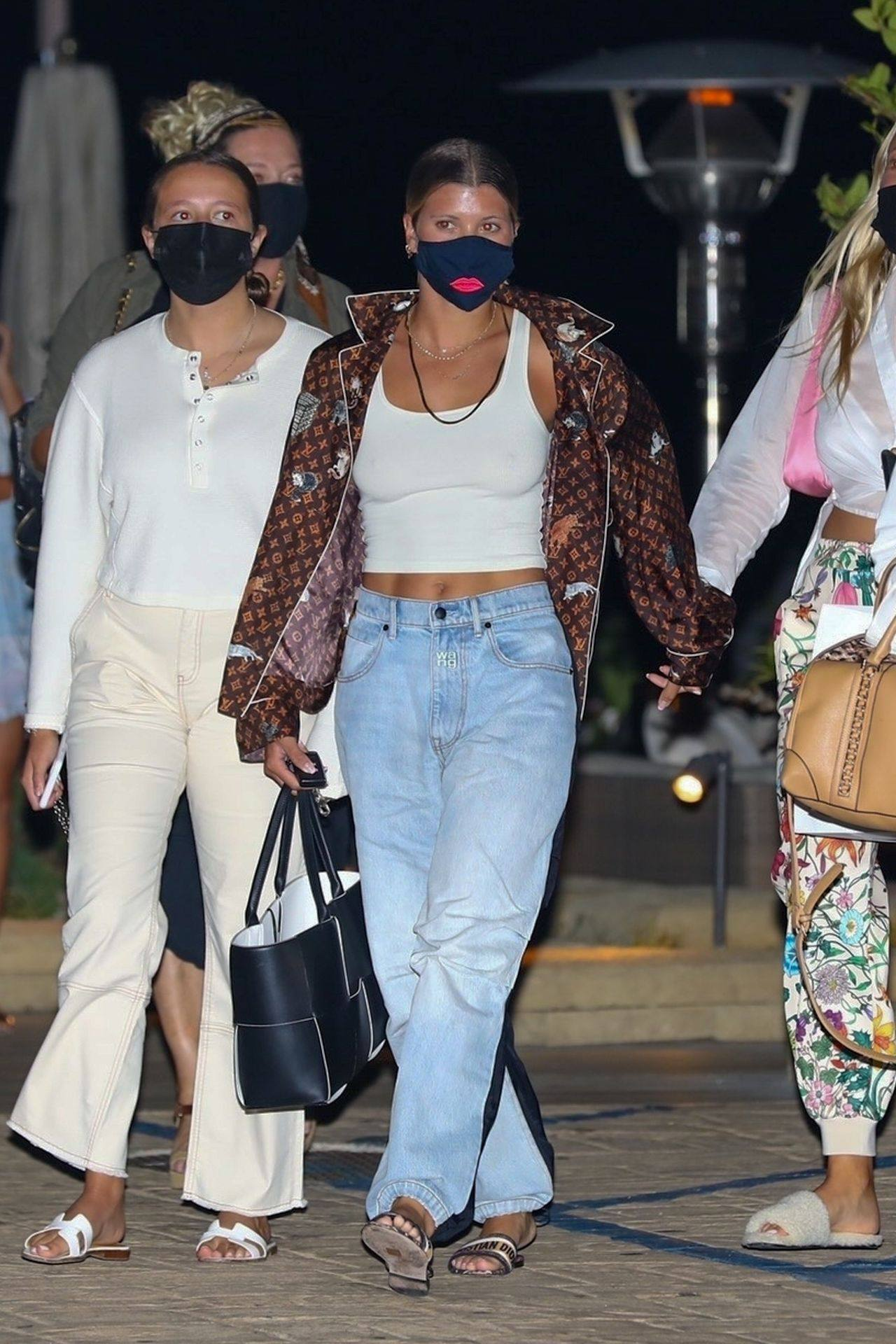 Sofia Richie Braless Boobs in White Top Out in Malibu