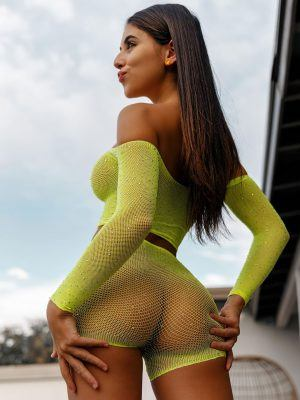 Violet Summers in Tight See-Through Dress
