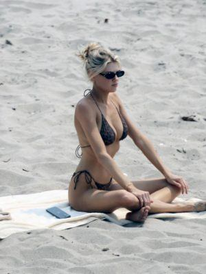 Charlotte McKinney in Small Black Bikini on the Beach in Malibu