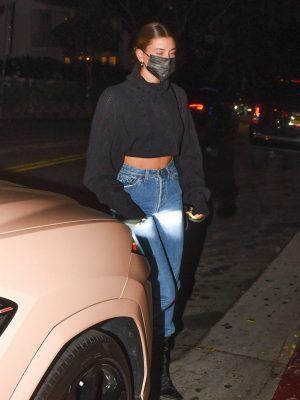 Hailey Bieber in Jeans Out for Dinner in LA