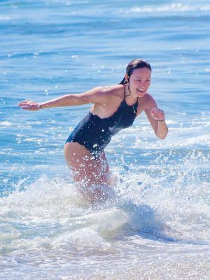 Olivia Wilde in Swimsuit, While Enjoying Her Beach Day in Malibu