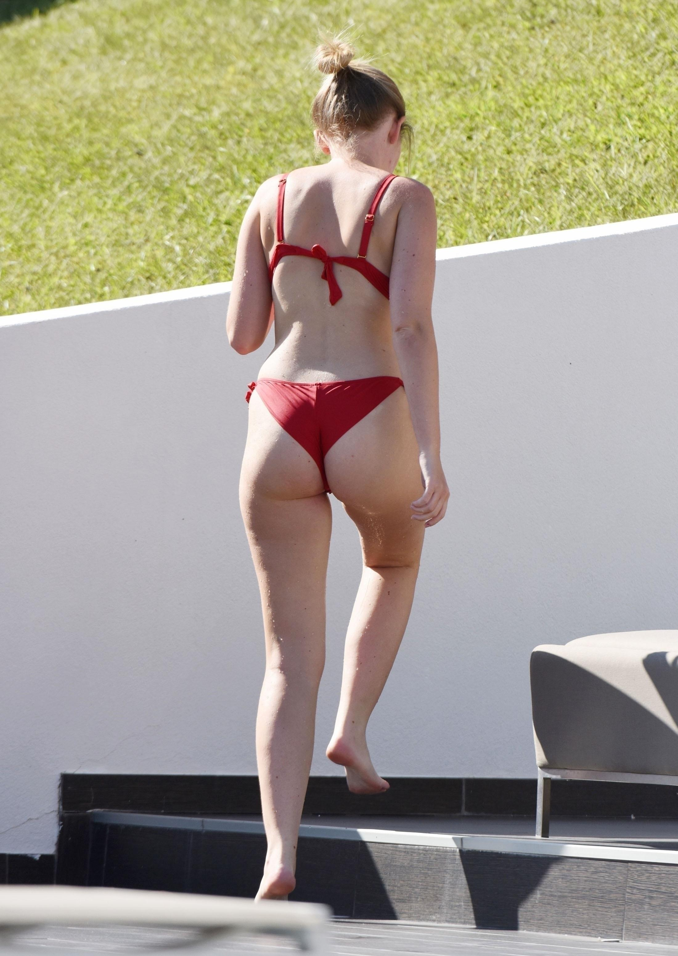 Amy Hart Booty in Red Bikini in Portugal
