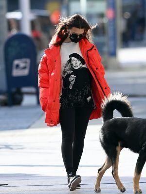 Emily Ratajkowski Walking a Dog, Out in New York