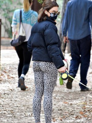 Lucy Hale Booty in Leggings taking Elvis for a walk in Los Feliz