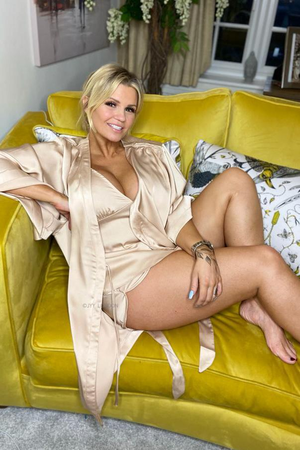 Kerry Katona in Satin PJ's Range with JYY London