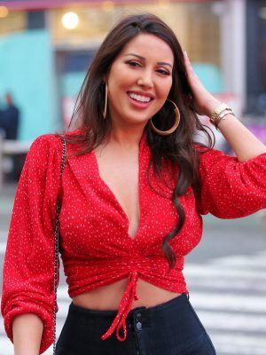 Estrella Nouri in Red Shirt at Times Square in New York