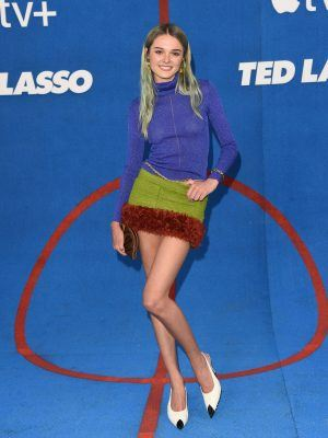 """Charlotte Lawrence Pokies and Leggy at """"Ted Lasso"""" Season 2 Premiere in West Hollywood"""